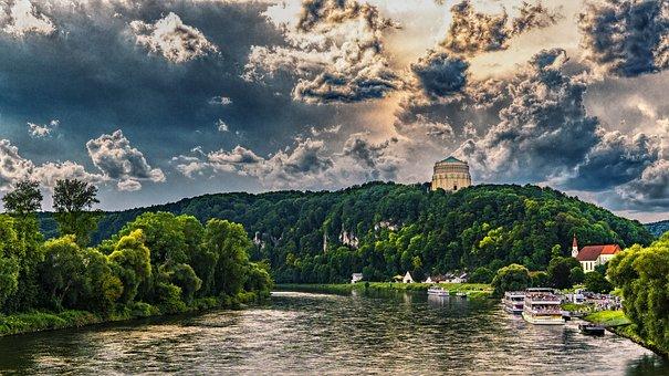 Befreiungshalle, Kelheim, Danube, River, Ship, Clouds