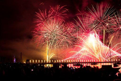 Salute, Holiday, Sky, Night, Smoke, Fireworks, Quay