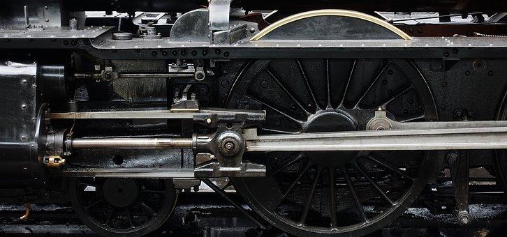 Locomotive, Steam, Engine, Wheel, Piston, Machine