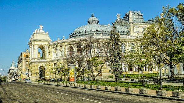 Odessa, Theatre, Road, Trees, Sun