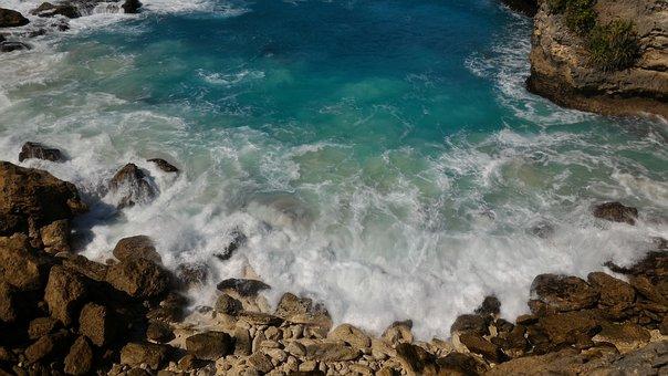 Bali, Lenbongan, Ocean, Blue Lagoon, Bay, Wave
