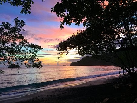 Costa Rica, Sunset, Pacific Ocean, Beach, Twilight