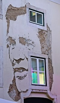 Unusual, Chipped, Plaster, Wall, Creation, Décor