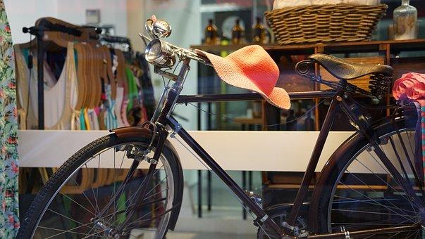 Old, Bicycle, Window, Display, Ladies, Wear, Hat