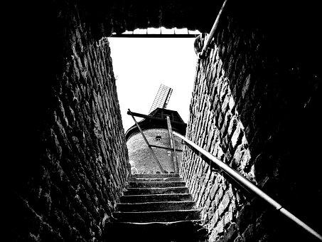 Mill, Windmill, Old, Stairs, Emergence, Wall