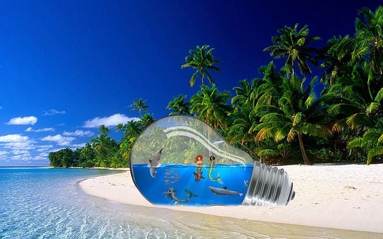 Fantasy, Beach, Light Bulb, Fairytale, Sky, Water