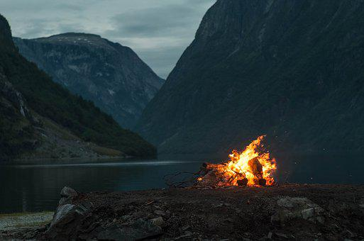Mountains, Fire, Fjord, Outdoor, Nature, Landscape