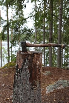 Axe, Forest, Nature, Huggkubbe, Wood, Cleave, Stump