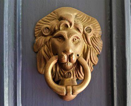 Lion, Door, Doorknocker, Knocker, Old, Handle, Metal