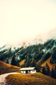 Cottage, House, Home, Sunrise, Fog, Snow, Mountains