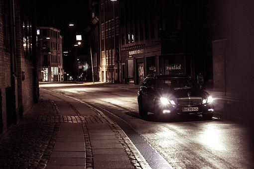 Car, Night, Copenhagen, Way, Scene, Movement, Mirror