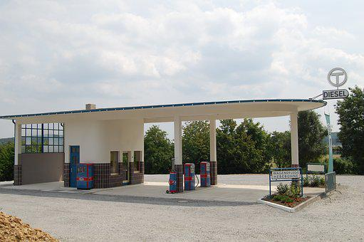Petrol Stations, Nostalgic, Building, Architecture, Old