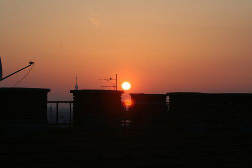 Roofs, Sky, Sunrise, Roof, Home, Fireplace, Chimney