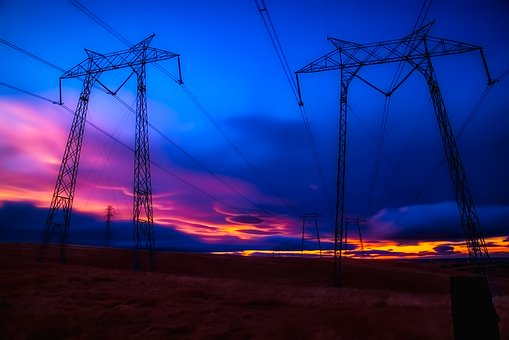Power Lines, Electric, Sky, Clouds, Sunset, Sunrise