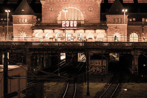 Train Station, Copenhagen, Night, Station, Train