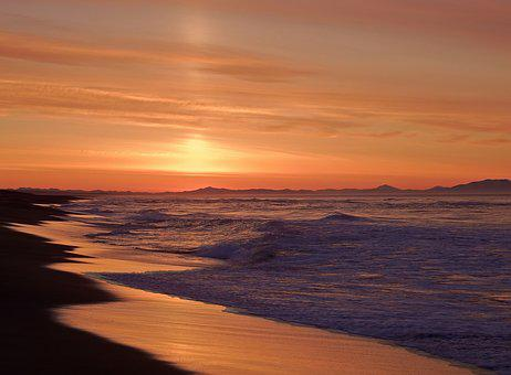 Ocean, Sunrise, Wave, Forward, Surf, Sunset, Seascape