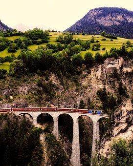 Switzerland, Landscape, Mountains, Train, Railway