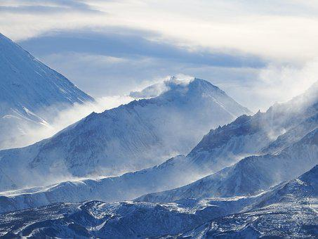 Mountains, Volcano, The Foot, Glacier, Wind, Snow Dust