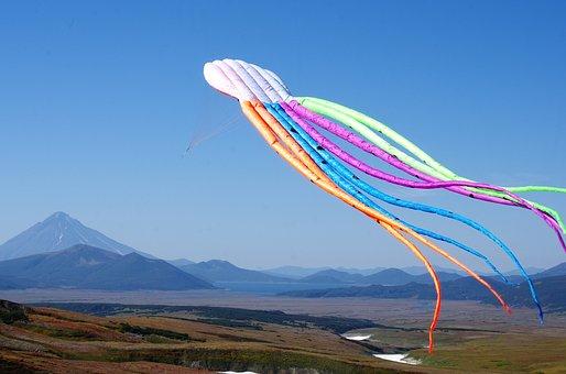 Kite, Flight, Height, Landscape, Mountains, Tundra