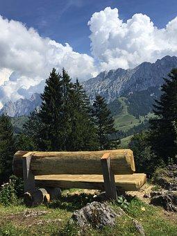 Bank, View, Nature, Landscape, Sit, Mountains