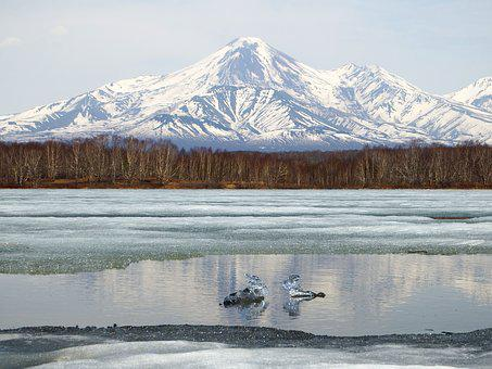 Volcano, Lake, Reflection, Ice, Spring
