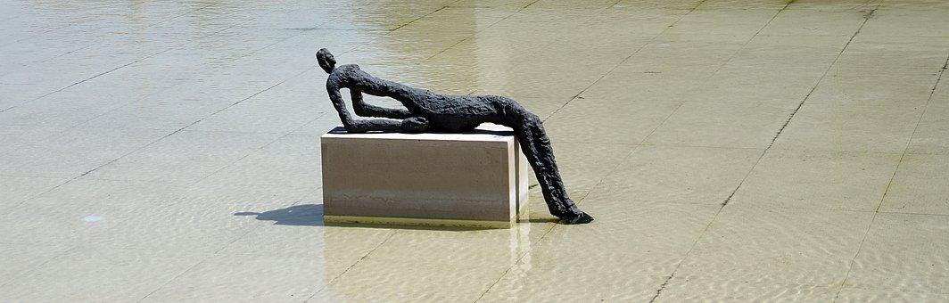 Water, Feature, Bronze, Figure, Reclining, Outdoor