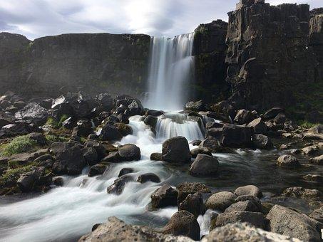 Waterfall, Blur, Water, Blurred, Iceland
