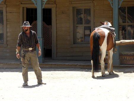 West, Wild, Cow, Cowboy, Western, Horse, Hat, Revolver