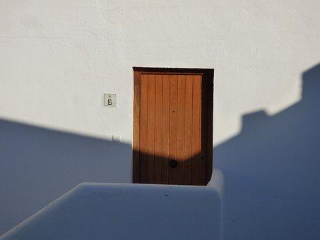 Door, Wall, Shadow, Sun, White, Wooden