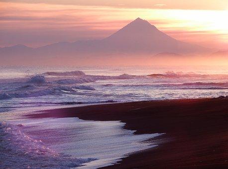 Sunset, Ocean, Wave, Beach, Sand, Forward, Surf, Clouds