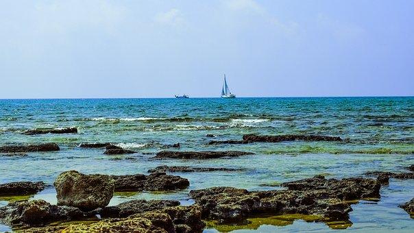 Rocky Coast, Sea, Landscape, Horizon, Boats, Summer