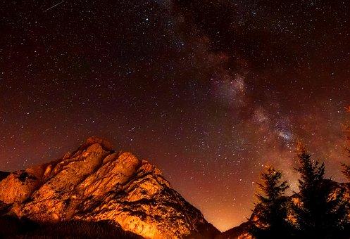Italy, Night, Evening, Stars, Milky Way, Mountains