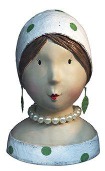 Bust, Ceramic, Head, Face, Female, Fashion, Sculpture
