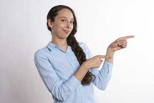 Pointing, Showing, Woman, Direction, Gesturing, Finger