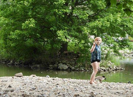 Lake, Summer, Girl, Peace, Attitude, Goose, Water