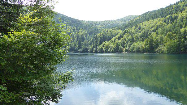 Lac Du Grand Ballon, Dam, Zoom, Lake, Vosges, France