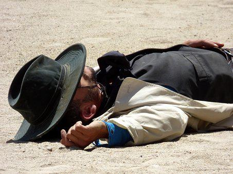 Cowboy, Dead, Lying, Hat, Ground, Death, Desert