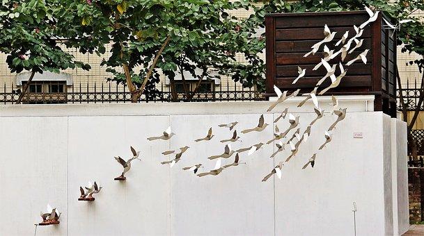 Metal, Flying, Birds, Wall, Decoration, Taiwan