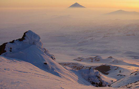 Sunset, Volcano, The Foot, Mountains, Fog, Clouds