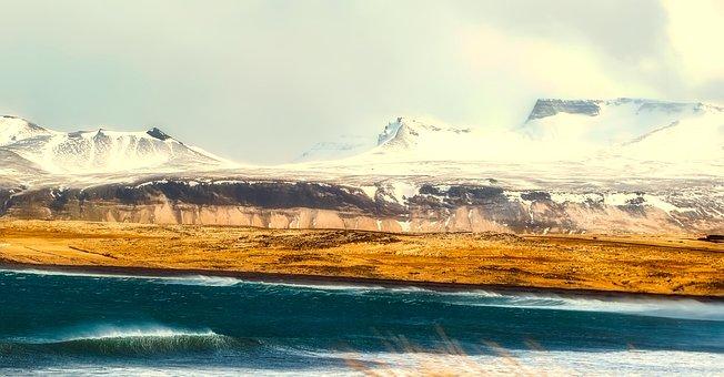 Iceland, Panorama, Sea, Ocean, Mountains, Winter, Snow