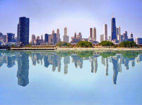 Skyscraper, Reflection, Architecture, City, Urban