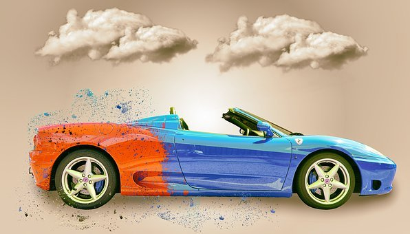 Car, Clouds, Ferrari, Change, Sky, Road, Travel, Nature
