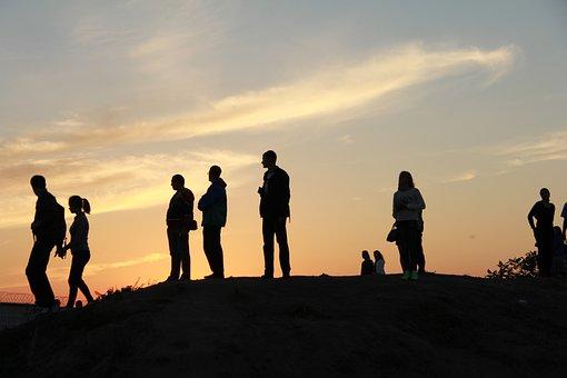 People, Evening, Sunset, Summer, Sky
