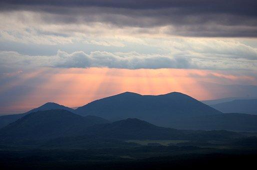 Sunset, Clouds, Evening, Sky, Mountains, Landscape