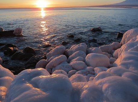 Sunset, Ocean, Wave, Stones, Naples, Beach, Coast