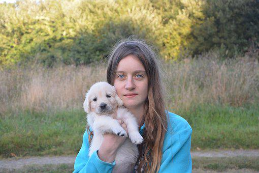 Woman, Young, Portrait, Dog, Tenderness, Complicity