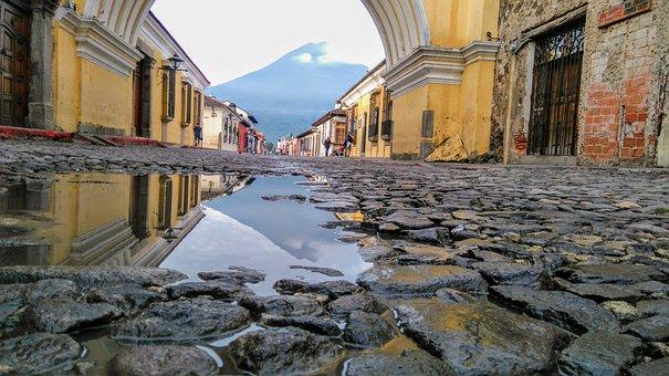 Antigua Guatemala, Sunrise, Guatemala, Agua Volcano
