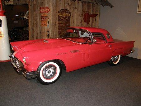 Car, Thunderbird, Antique, Red, Auto, Automobile