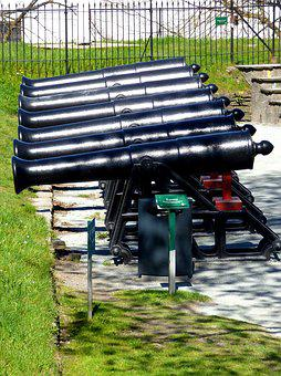 Cannons, Black, Old, History, Ancient, Army, Military