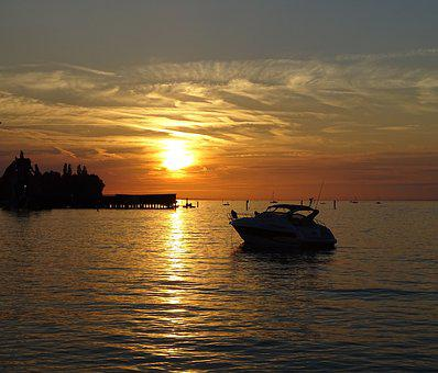 Lake Sunset, Boat On Lake, Boat